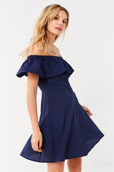 UO Off-The-Shoulder Swiss Dot Button-Down Dress | Urban Outfitters