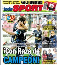 """""""CON RAZA DE CAMPEÓN"""" apareció el diario TodoSport en su portada para resaltar la victoria de cuatro a cero de Sporting Cristal sobre Universitario de Deportes."""