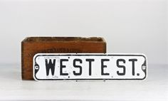Vintage Street Sign, Metal Street Sign, Old Street Sign, West E Street, Black And White Street Sign, Industrial Decor, Old Sign, Traffic by HuntandFound on Etsy