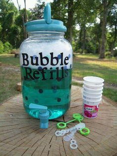 Bubble Refill Station - We are doing this today for our kindergarten end of the year picnic and then again for a station at field day! Excited!! Using regular bubble refills though instead if homemade bubble solution.