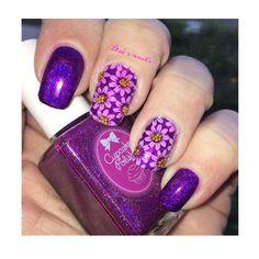 Sunflower /purple holo nails