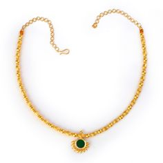 SKU: MNK7 Product Details: Gold (22K, 14 gms) Glass stone (.62 gms) Description: A brilliant display of oval and round 22K gold beading, the Necklace 4 design meets in the centre to showcase a vibrant green glass stone. A perfect choice for a lunch date or shopping trip, this gold necklace adds a casual touch … Gold Necklace Simple, Small Necklace, Golden Necklace, Gold Jewelry Simple, Gold Chain Design, Gold Jewellery Design, Kerala Jewellery, Jewelry Patterns, Chains