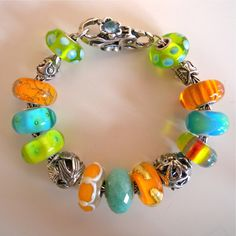Trollbeads, green, turquoise and orange