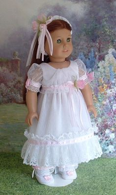Carolines Favorite Gown Regency Era for by MyGirlClothingCoHeir Child Doll, Boy Doll, Girl Dolls, American Doll Clothes, Ag Doll Clothes, Roses For Her, My American Girl, Doll Dress Patterns, Pink Bows