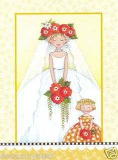 "Mary Engelbreit Wedding Magnet ""Here Comes the Bride"""