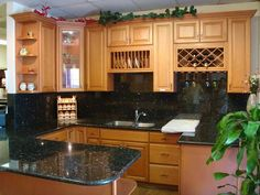 Fresh Oak Cabinets Black Countertops