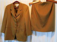 Jones New York 14 Skirt Suit Brown Waist 32 #JonesNewYork #SkirtSuit