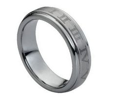 Tungsten Carbide Brushed Laser Engraved Roman Numeral Ring 6MM