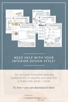 My Interior Design Coach, Jami Elliot, has created a series of home renovation workbooks to help you with your interior design journey. They are free to download and super fun to complete! Head to the website to get your own copy.
