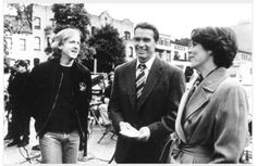"""James Cameron, Jamie Lee Curtis and Arnold Swarzenegger on the set of """"True Lies"""""""