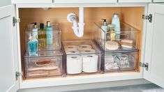 11 Genius Ideas to Up Your Under-the-Sink Storage Game — Good Housekeeping Under Bathroom Sink Storage, Bathroom Vanity Organization, Under Sink Drawer, Kitchen Organisation, Closet Organization, Kitchen Storage, Sink Organizer, Organizers, Storage Ideas