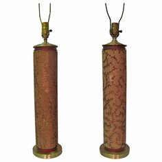 Pair Of Tall Wall Paper Roll Table Lamps | From a unique collection of antique and modern table lamps at https://www.1stdibs.com/furniture/lighting/table-lamps/