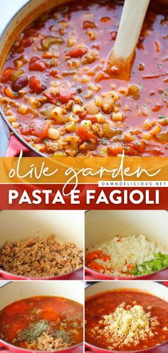 Need some comfort food in a bowl? Learn how to make Pasta e Fagioli! Soaked up in all that hearty, cozy goodness, this Olive Garden copycat is so much better than the restaurant version. Save this soup recipe for an easy, delicious dinner! Easy Pasta Recipes, Healthy Dinner Recipes, Soup Recipes, Chicken Recipes, Yummy Recipes, Olive Garden Soups, Olive Garden Pasta, Pasta E Fagioli, Ground Turkey Recipes