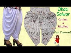 Very easy and simple way Dhoti Salwar cutting and stitching full tutorial // by simple cutting Salwar Pattern, Churidar Neck Designs, Baby Dresses, Palazzo Pants, Sewing Techniques, Sewing Clothes, Simple Way, Stitching, Gardens