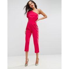 ASOS One Shoulder 80s Jumpsuit (98 CAD) ❤ liked on Polyvore featuring jumpsuits, pink, pink jumpsuits, one shoulder jumpsuit, asos, prom jumpsuit and one sleeve jumpsuit