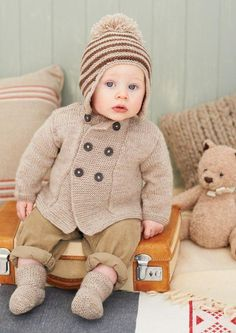knitting pattern for baby / kid boy and girl double breasted coat hats boots dk yarn pattern size Baby Boy Knitting Patterns, Knitting For Kids, Double Knitting, Baby Patterns, Knitting Yarn, Free Knitting, Knitted Baby Cardigan, Knitted Hats, Sport Weight Yarn