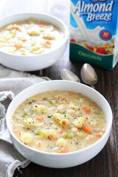Creamy Roasted Cauliflower Chowder Recipe on twopeasandtheirpod.com Warm up with a bowl of this healthy and comforting chowder!