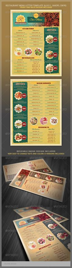 Vintage Restaurant Menu Flyer Template  Food Menu Templates
