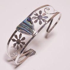 Awesome Ablone Shell  .925 Silver Handmade Designer Bangle Cuff Jewelry JB197 #Handmade