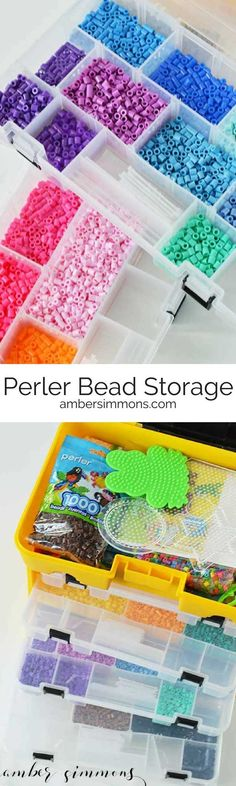 Keeping those Perler Beads contained can be an issue. Especially since they usually come in bags. This melty bead storage solution will have you organized and create to create at a moments notice. New Crafts, Easy Diy Crafts, Diy Craft Projects, Crafts For Kids, Craft Tutorials, Craft Ideas, Bead Storage, Craft Storage, Storage Ideas
