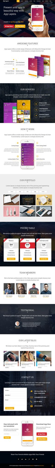 "AppLayers is a free One Page HTML template built to showcase your new app. The template features a fixed header navigation that ""smooth scrolls"" to the relevant website sections."