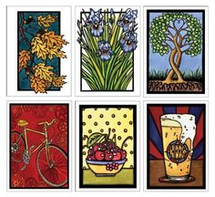 2016 Best Seller Collection - $14.94 Sarah Angst Greeting Cards - Oak Leaves, Iris, Together Forever, Bicycle, Bowl of Cherries, and Cheers #sarahangstart - Bozeman, Montana