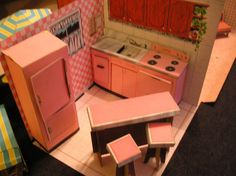 Kitchen of Tammy's 3-Room House by Ideal, 1960's