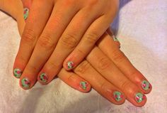 Shellac 'Mint convertible' with Cath Kidston inspired nail art