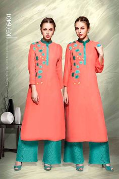 Designer Real Georgette Peach Kurtis For Office Wear Or Casual Wear With Embroidary Work.......