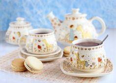 Handmade ceramic tea set for kids, $35.00, Holds 33.81 oz (1,000 ml).Catalog of St. Elisabeth Convent. #CatalogOfGoodDeed #handmade #buy #order gift #present #art #DECORATION #craft #ceramic #pottery #dishes #teapot #tea #sweethome #decal