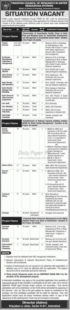 Jobs Opportunity in Pakistan Council of Research in Water Resources PCRWR Islamabad Govt of Pakistan For #jobs detail and how to apply: #paperpk http://www.dailypaperpk.com/jobs/236895/jobs-opportunity-pakistan-council-research-water-resources-pcrwr-islamabad-govt-pakistan