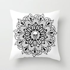 Skull Mandala Throw Pillow by Britt Bolduc - $20.00