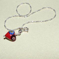 Ankle Bracelet Jewelry Red Millefiori Charm by HeidemarieMDesign, $28.00