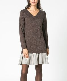 Another great find on #zulily! Brown & Gray Layered Dress by Mahal Moda, $30 !!  #zulilyfinds