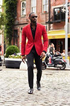 Shop this look on Lookastic:  http://lookastic.com/men/looks/sunglasses-long-sleeve-shirt-blazer-dress-pants-socks-oxford-shoes/9206  — Black Sunglasses  — Black Long Sleeve Shirt  — Red Blazer  — Black Dress Pants  — Black Socks  — Black Leather Oxford Shoes