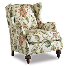 botanical print upholstery fabric chair | ... Abington Wing Chair - Jewel - Upholstered Club Chairs at Hayneedle