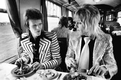 Photograph by Mick Rock - David Bowie & Mick Ronson, Lunch On Train To Aberdeen