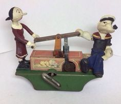 Marx Popeye & Olive Oyl on Handcar. Wind up toy from 1930s/ebay