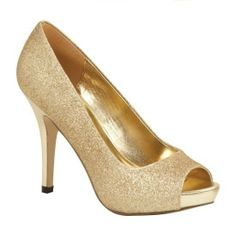 "Lava Womens MYLIE Gold Glitter Open Toe 3 1/2"" High Heel Pump Shoes"