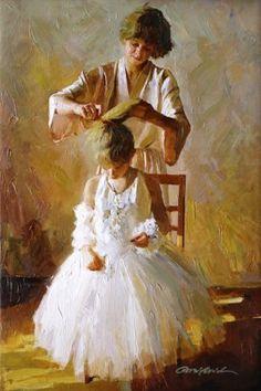 Ballerina Girl Preparing Hair Ballet Art Oil by AnastassiaArt. Art Ballet, Ballet Painting, Painting & Drawing, Illustration Art, Illustrations, Paintings I Love, Russian Art, Mothers Love, Mother And Child