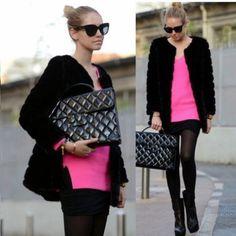 Fashion Women Faux Rabbit Fur Jackets Coat Collarless Warm Winter Outwear Tops
