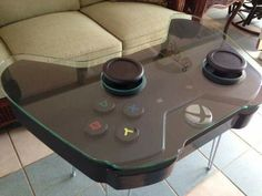 Handmade Game Controller Table, XBOX One inspired - Handmade coffee table inspired by the Xbox One gaming controller. Steel hairpin legs shown in the p -