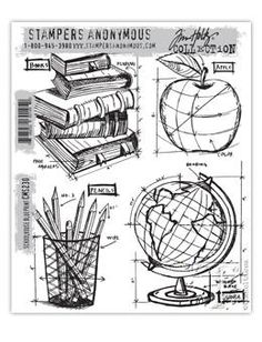 Tim Holtz® Stampers Anonymous - Cling Mount Stamps - Schoolhouse Blueprint