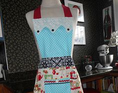 Items similar to Upcycled Repurposed Woman's Shirt Apron with Vintage Hankie and Button Green & Red on Etsy