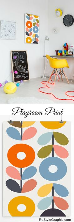 The lovely Scandinavian flowers poster for a child's room will be a bright accent to your home interior. Bright floral wall art is the perfect decoration game room and a cherry on the cake for your nursery. Check out on ReStyleGraphic.com  | Nursery Decor, Nursery Wall Art, Folk Art, Affiche Scandinave, Playroom Decor, Kids Room Decor, Floral Artwork Print
