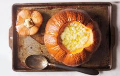 Pumpkin Soup with Gruyère - Bon Appétit Might be a nice starter for Thanksgiving.