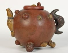 RARE ANTIQUE CHINESE YIXING TEAPOT APPLIED WITH SEEDS 18/19TH C.