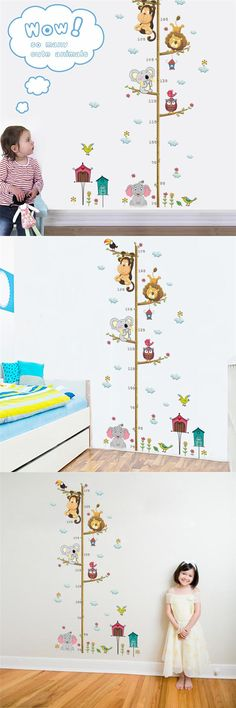[Visit to Buy] Cartoon Animals Lion Monkey Owl Elephant Height Measure Wall Sticker For Kids Rooms Growth Chart Nursery Room Decor Wall Art #Advertisement