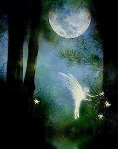 Mystic Forest Fairy Art Print by Julie Fain by juliefainart, Fairy Dust, Fairy Land, Fairy Tales, Forest Fairy, Fantasy World, Fantasy Art, Elfen Fantasy, Kobold, Beautiful Moon