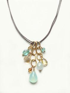 Playa Necklace with Semi Precious Stones Aqua & Gold by Flow Designs Resort Summer Fashion